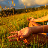 Happy young woman. Yoga women, relaxed practicing lotus position Stock Image
