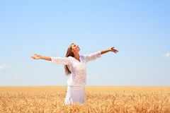 Happy young woman. In golden wheat field Stock Photography
