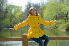 Happy young woman. In the spring nature Royalty Free Stock Photo