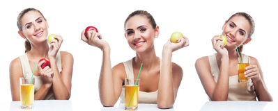 Happy Young Woman with apple juice on white background Royalty Free Stock Image