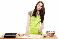 Happy young woman baking for christmas Royalty Free Stock Images