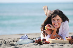 Happy young woman on beach Royalty Free Stock Photo