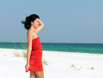 Happy Young Woman  on a Beach Stock Image