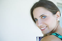 Happy young woman. Happy young beautiful woman portrait with book Royalty Free Stock Images