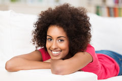 Happy young woman with a beautiful smile Stock Photo