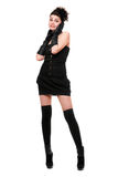 Happy young woman in a black dress Royalty Free Stock Photos