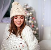 Happy woman in blanket get warm at home bedroom Royalty Free Stock Photos