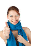 Happy young woman in blue scarf Royalty Free Stock Photos