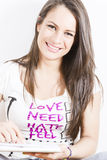 Happy young woman with book Royalty Free Stock Photography