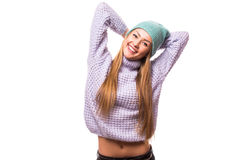 Happy young woman  with cap on the head Stock Photos