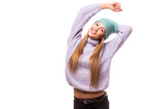 Happy young woman  with cap on the head Royalty Free Stock Image