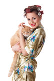 Happy young woman with a cat. Stock Image