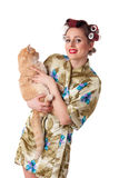 Happy young woman with a cat. Stock Images
