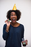 Happy young woman celebrating Royalty Free Stock Photo