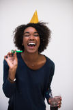 Happy young woman celebrating Stock Photography