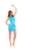 Happy young woman celebrating success. Royalty Free Stock Image