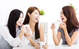 Happy young woman chatting in living room. Three happy young women chatting in living room royalty free stock photography
