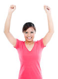 Happy Young Woman Cheering Royalty Free Stock Photos