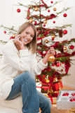 Happy young woman on Christmas Stock Images