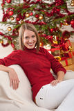 Happy young woman on Christmas Royalty Free Stock Images