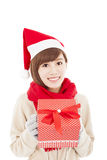 Happy  young woman with christmas gift box Royalty Free Stock Photo