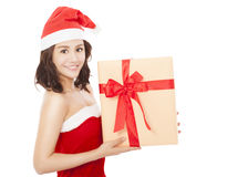 Happy young woman with christmas gift box Stock Images