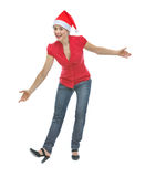 Happy young woman in Christmas hat funny posing Stock Photo
