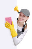 Happy young woman cleaner Royalty Free Stock Image
