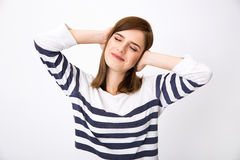 Happy young woman with closed eyes Royalty Free Stock Photos