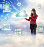 Happy Young Woman with Cloud Computing Concept royalty free illustration