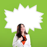 Happy young woman and comic splash Royalty Free Stock Photography