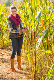 Happy young woman in cornfield Royalty Free Stock Photos