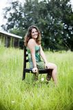 Happy young woman in country Royalty Free Stock Photo