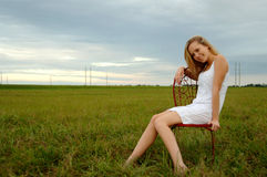 Happy young woman in country Stock Image