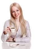 Happy young woman with cup of coffee Royalty Free Stock Photos