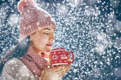 Woman with a cup of hot tea. Happy young woman with a cup of hot tea on snowy winter walk in nature. Concept of frost winter season Stock Photography