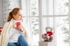 Happy young woman with cup of hot tea in winter window Christmas Stock Images