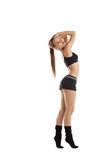 Happy young woman dance in fitness cloth Royalty Free Stock Images