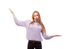 Happy young woman demonstrate invisible product Royalty Free Stock Image