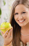 Happy young woman on diet Royalty Free Stock Images