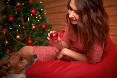 Happy young woman and dog at Christmas Royalty Free Stock Image
