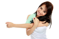 Happy young woman doing exercise Royalty Free Stock Photos