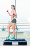 Happy young woman is doing exercises with dumbbells on step board. Royalty Free Stock Photos