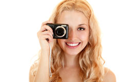 Happy young woman doing photos with still camera Stock Photography