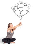 Happy woman holding balloons drawing Royalty Free Stock Photos