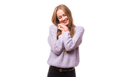 Happy young woman dreaming Stock Image