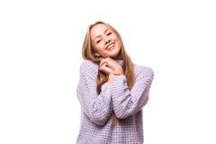 Happy young woman dreaming Stock Images