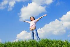 Happy young woman dreams Royalty Free Stock Photos