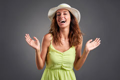 Happy young woman in a dress Royalty Free Stock Photos