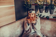 Happy young woman eating pizza in the restaurant Royalty Free Stock Photo